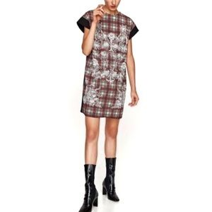 Zara plaid shift dress w/ floral embroidery large